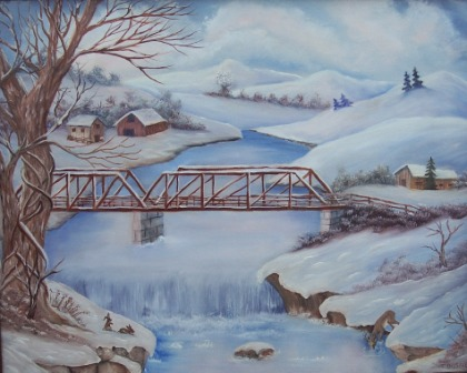 Old steel bridge -Oil on Canvas