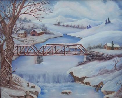 Old steel bridge -Oil on Canvas